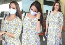 sonakshi sinha at airport in floral ethnic attire