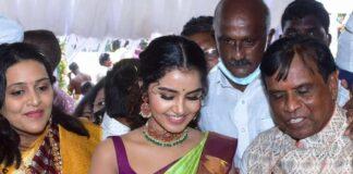 Anupama Parameshwaran in a light green pattu saree by kisan fashion mall1.2