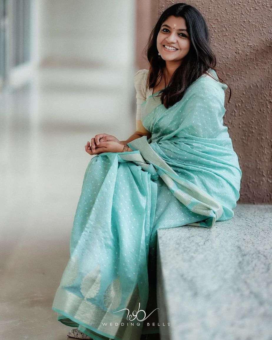 Aparna Balamurali in a baby blue saree by anika weaves-1