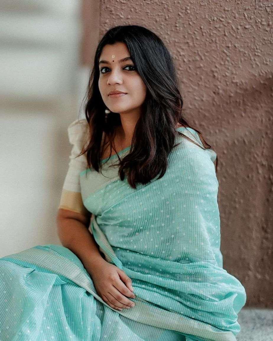 Aparna Balamurali in a baby blue saree by anika weaves