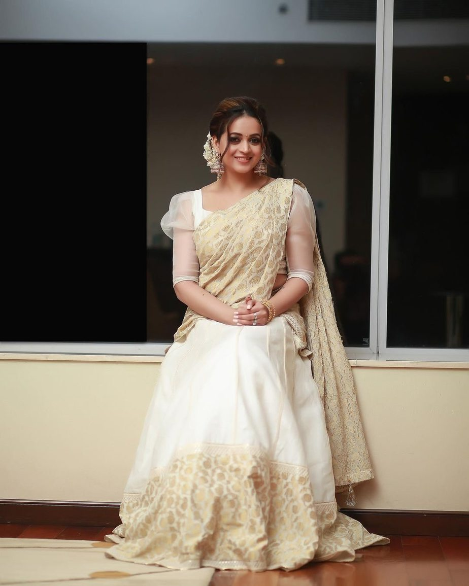 Bhavana Menon in a kasavu half saree by label M-1