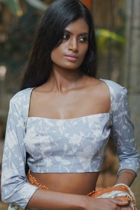 Grey floral blouse by House of blouse5