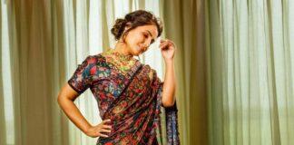 Hina Khan in a black ruffle saree by Rabani and Rakha-4