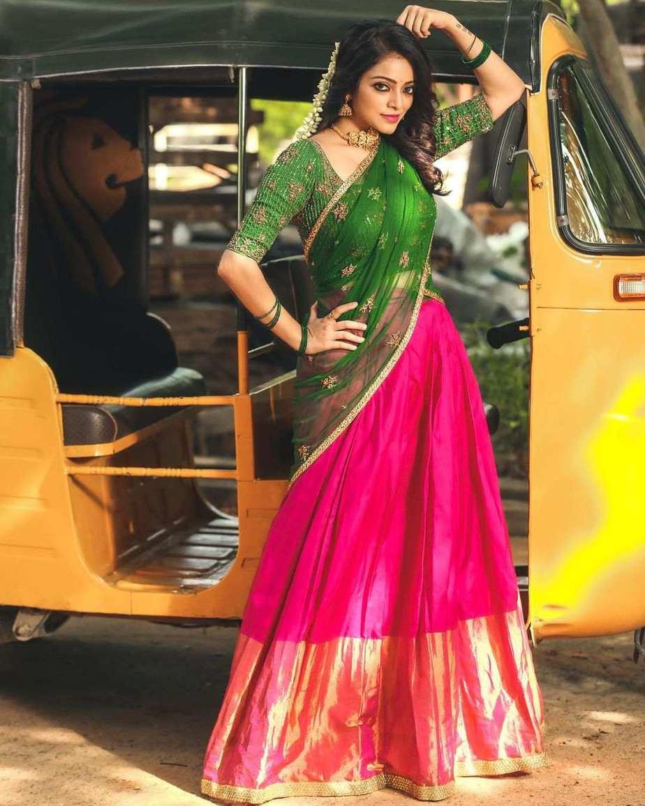 Janani iyer in pink green half saree by anju shankar-1