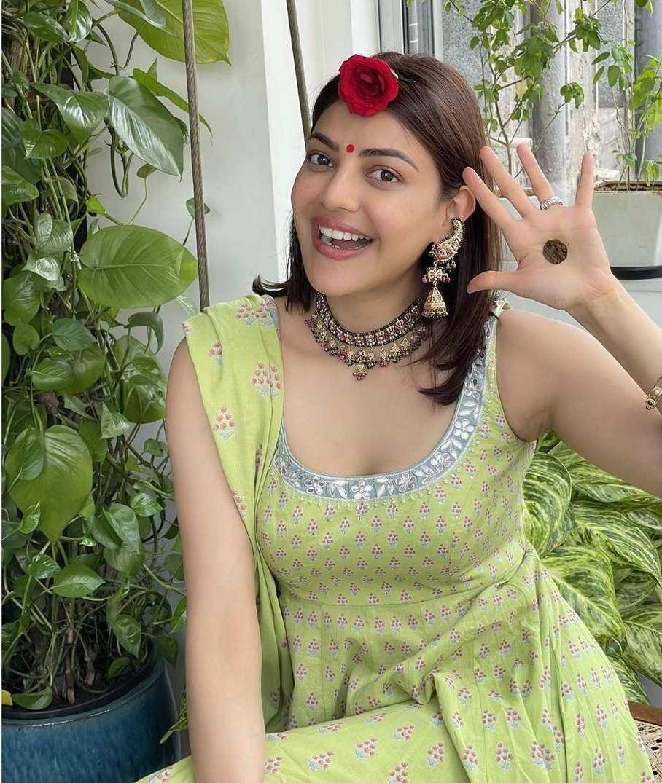 Kajal aggarwal in green anarkali for haryali teej-1