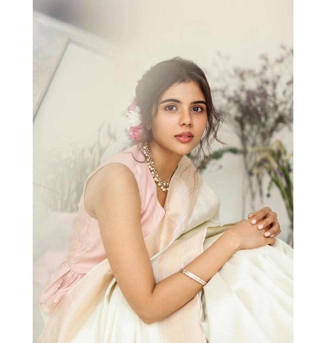Kalyani Priyadrashan in a white sundari silks saree-1