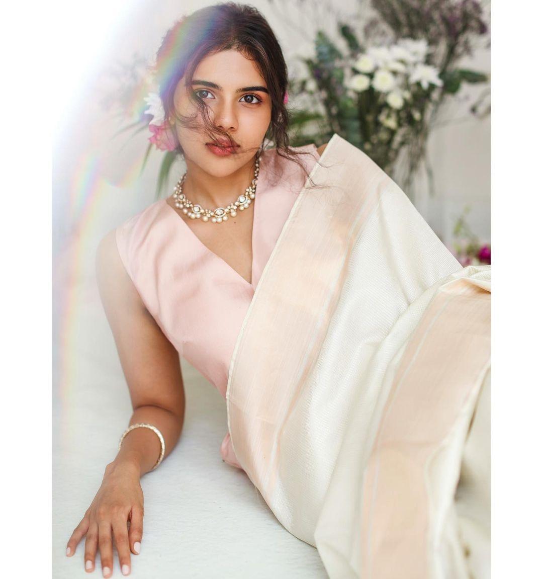 Kalyani Priyadrashan in a white sundari silks saree-3