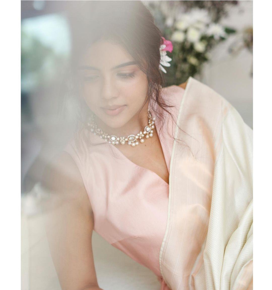 Kalyani Priyadrashan in a white sundari silks saree