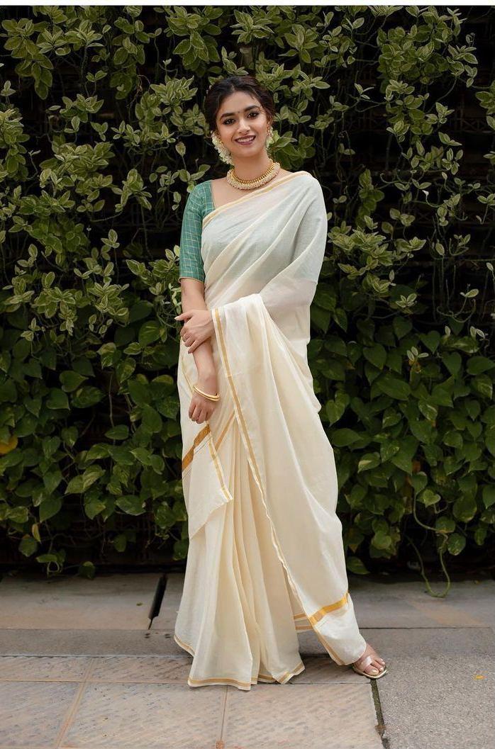 Keerthy Suresh in a kasavu saree by Margazhi designs for onam 2021-1