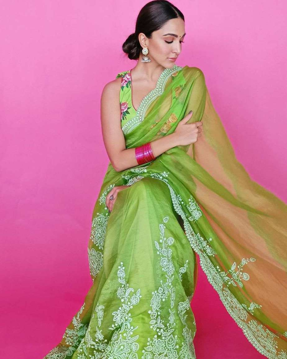 Kiara advani in green saree by Torani for Shershah promotions-1