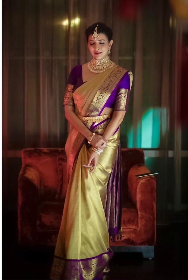 Lakshmi Manchu in a lime green pattu saree for a wedding-1