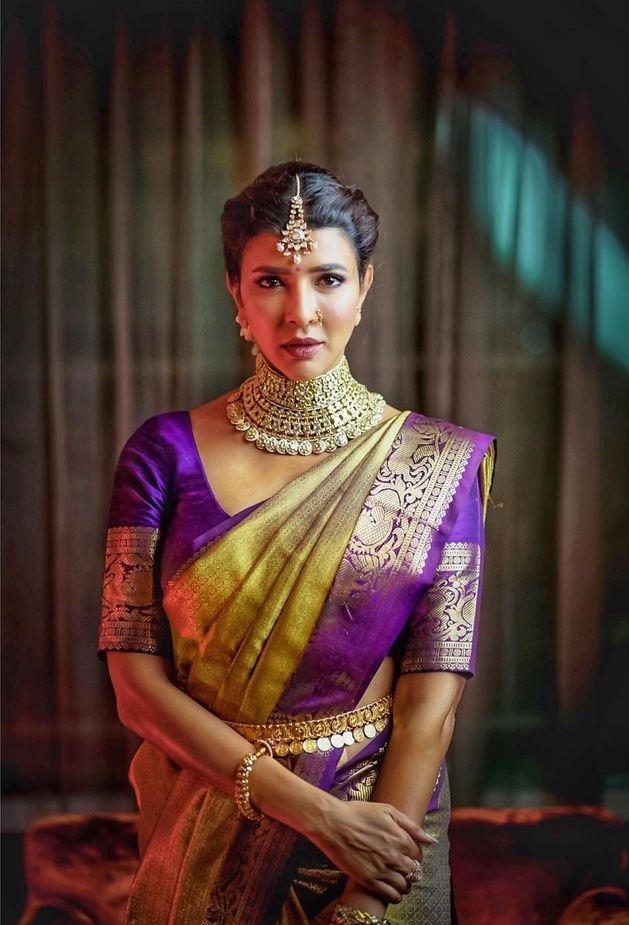 Lakshmi Manchu in a lime green pattu saree for a wedding-2