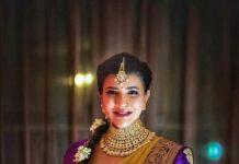 Lakshmi Manchu in a lime green pattu saree for a wedding