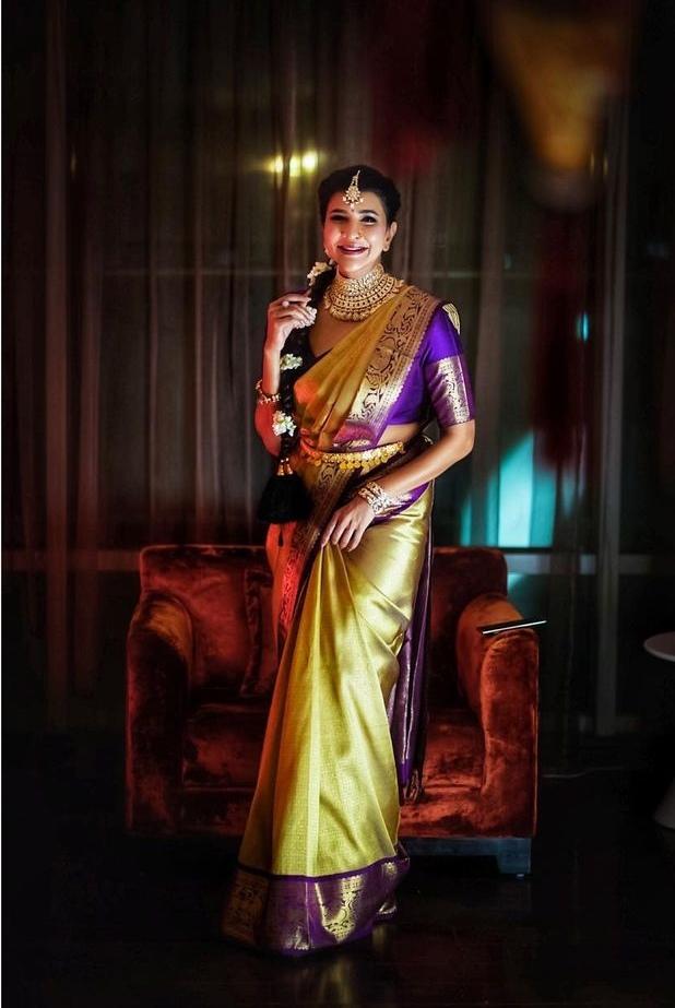 Lakshmi Manchu in a lime green pattu saree for a wedding-3