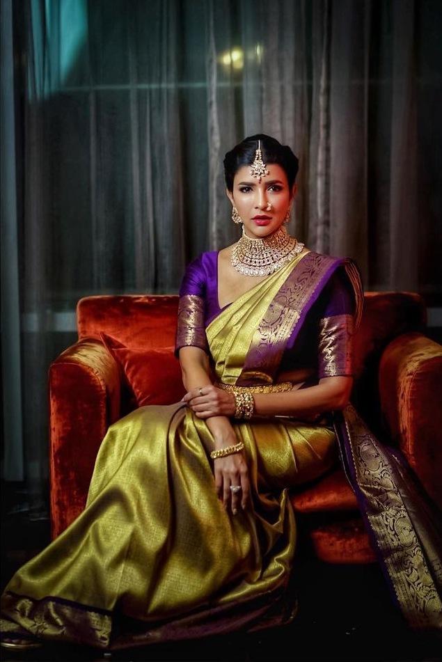 Lakshmi Manchu in a lime green pattu saree for a wedding-4
