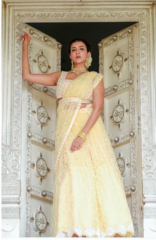 Lakshmi Manchu in yellow lehenga by Mishru for a wedding-2