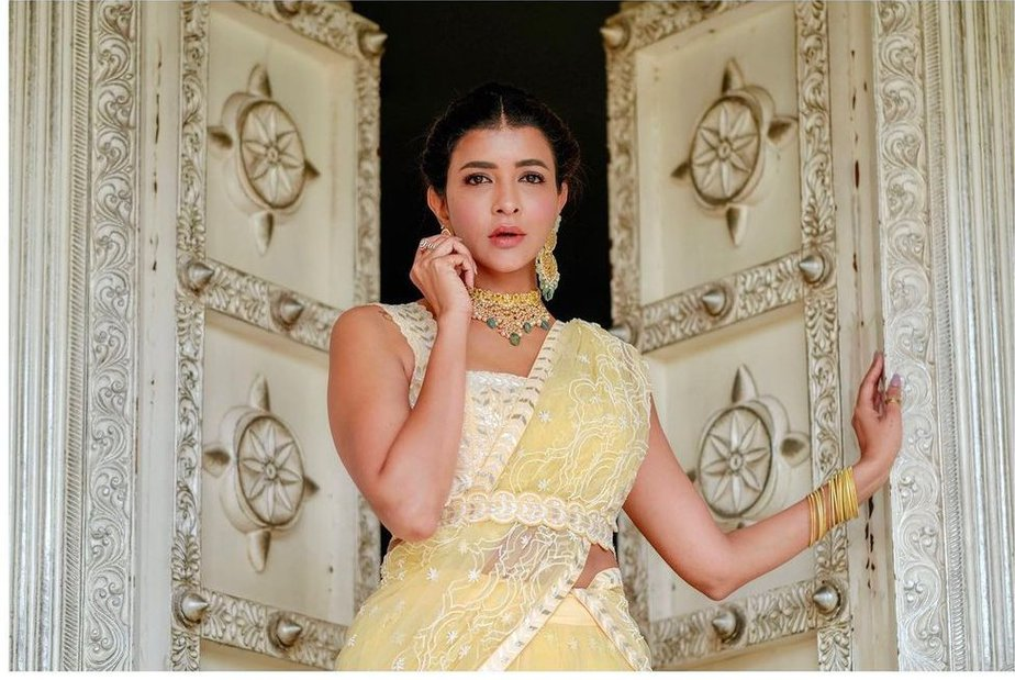 Lakshmi Manchu in yellow lehenga by Mishru for a wedding-1
