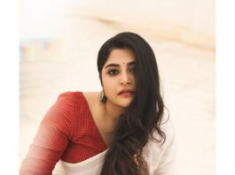 Manjima Mohan in a white saree by Wrii for onam 2021-2