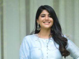 Megha Akash in a powder blue kurta set for dear megha interview-1
