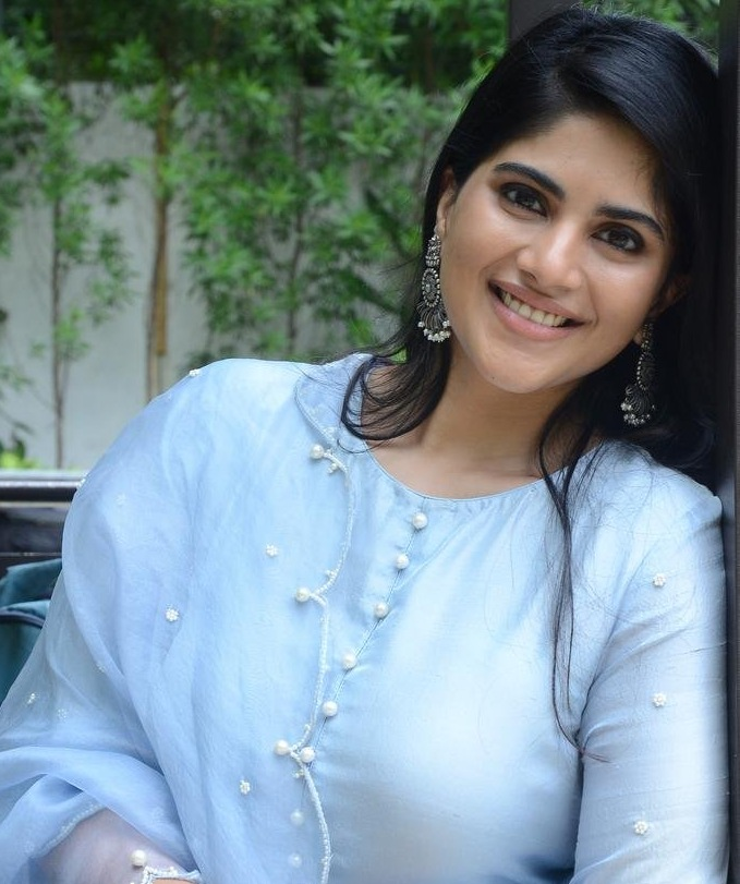 Megha Akash in a powder blue kurta set for dear megha interview-3