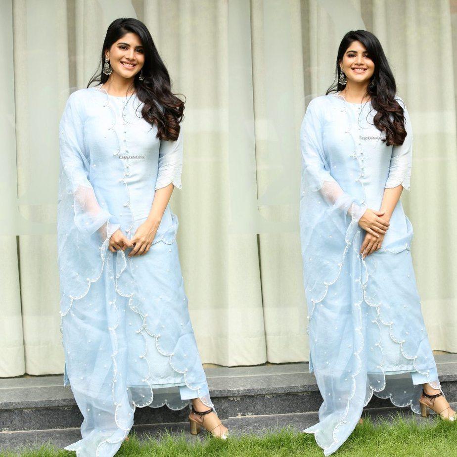 Megha Akash in a powder blue kurta set for dear megha interview-4