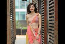 Mehreen Pirzada in a saree gown by qbik atNee Sigoovaregu launch event-1.2