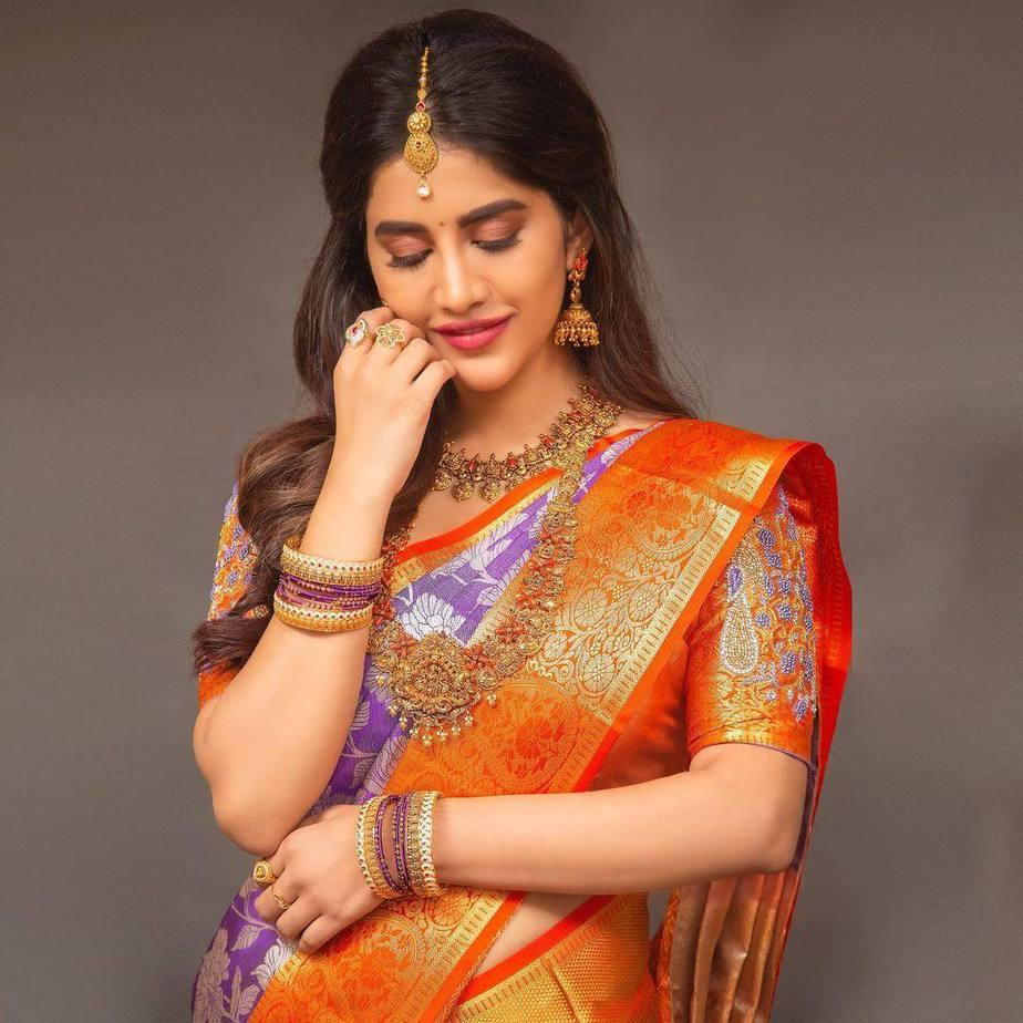 Nabha Natesh in a lilac pattu saree by RS Brothers-1