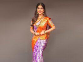 Nabha Natesh in a lilac pattu saree by RS Brothers-2