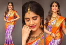 Nabha Natesh in a lilac pattu saree by RS Brothers-featured