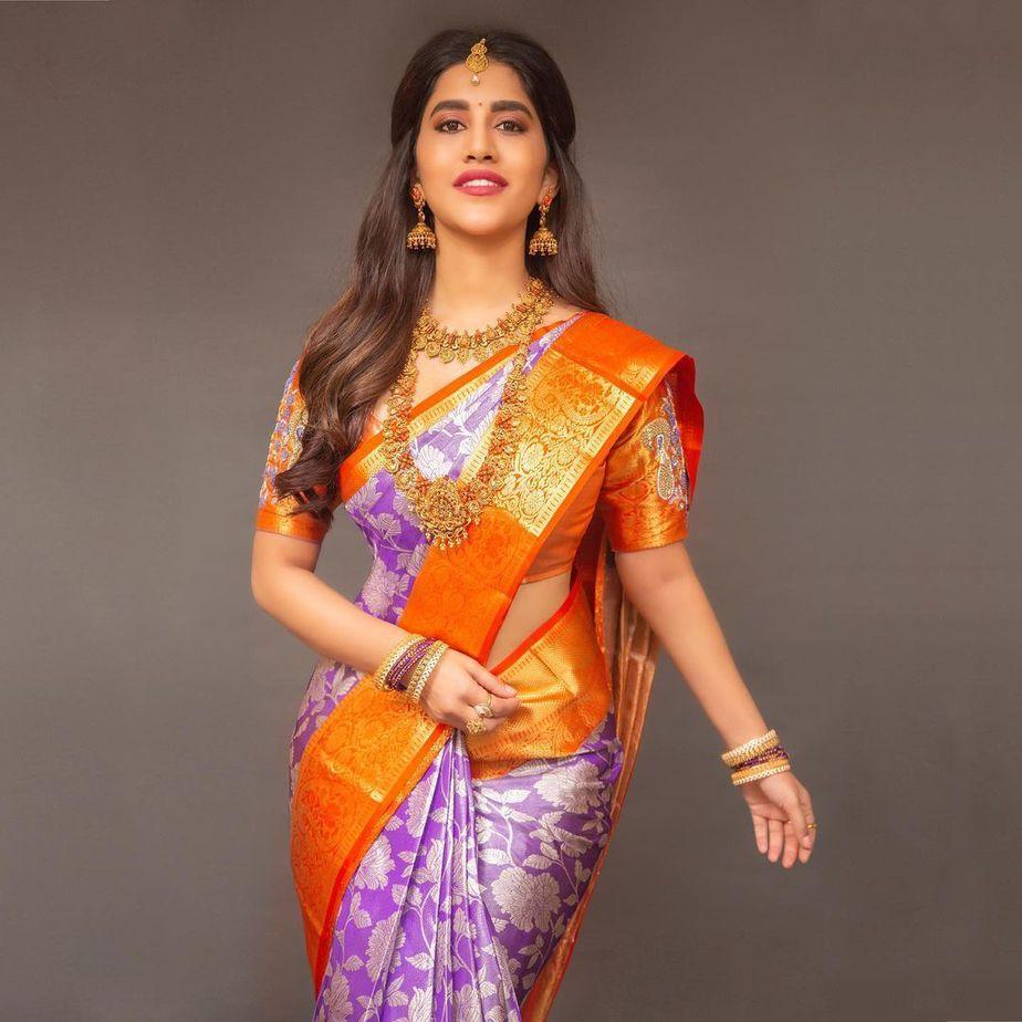 Nabha Natesh in a lilac pattu saree by RS Brothers