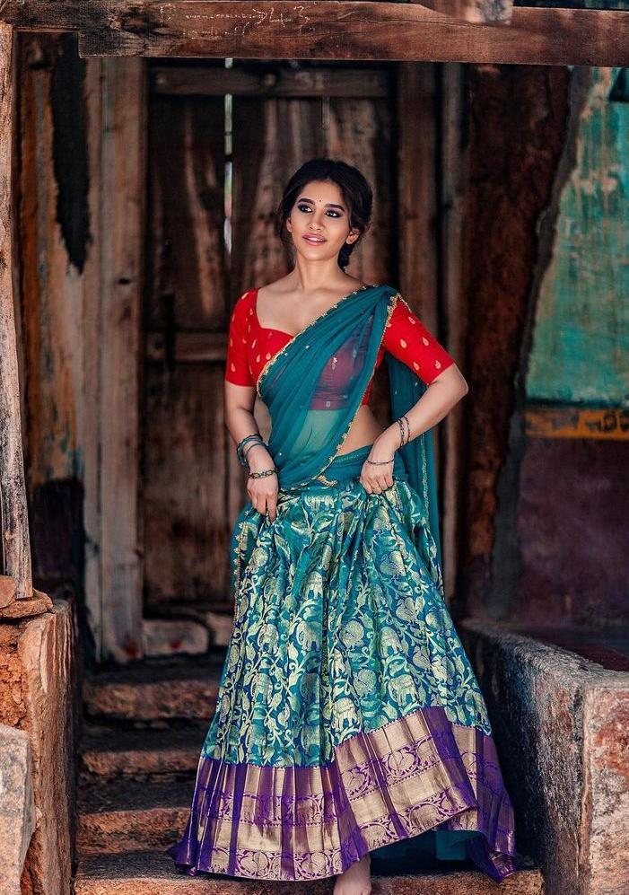 Nabha Natesh in a turquoise half saree by mahitha prasad-1