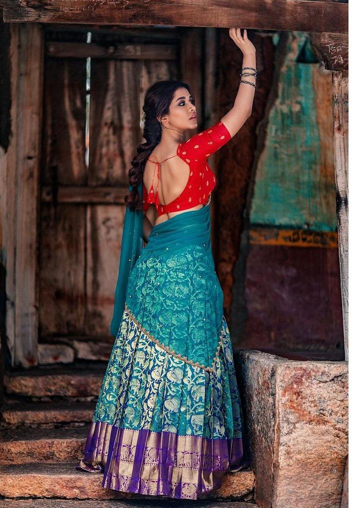 Nabha Natesh in a turquoise half saree by mahitha prasad-2