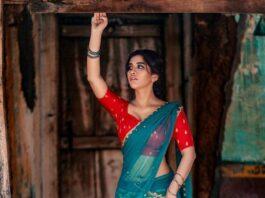 Nabha Natesh in a turquoise half saree by mahitha prasad