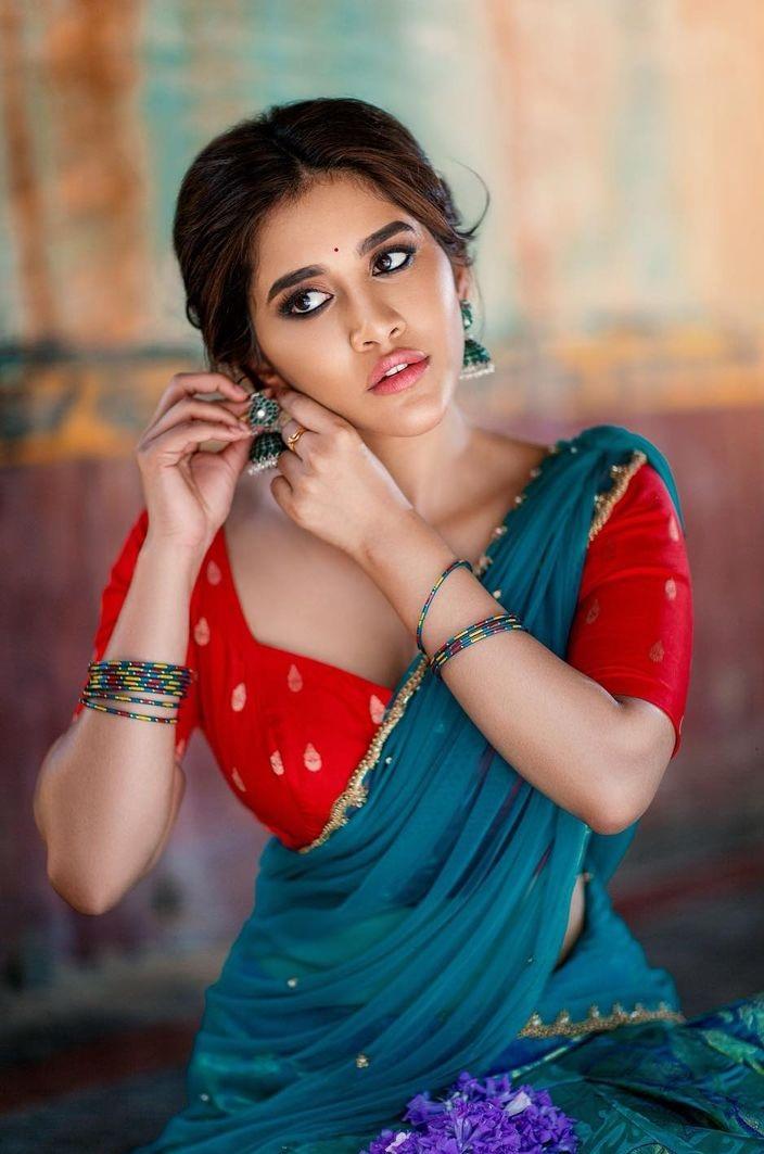 Nabha Natesh in a turquoise half saree by mahitha prasad-4