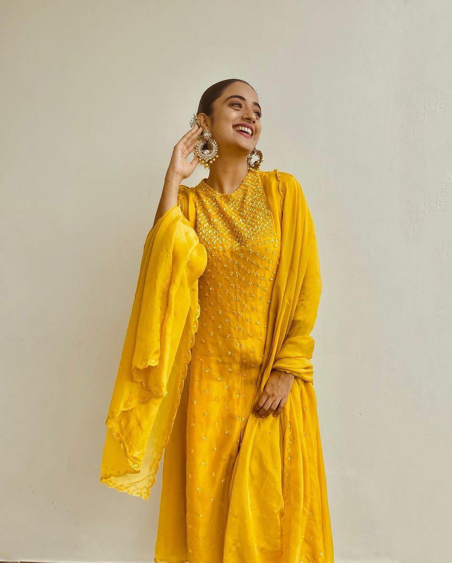 Namitha Pramod in a yellow kurta set by label m-2