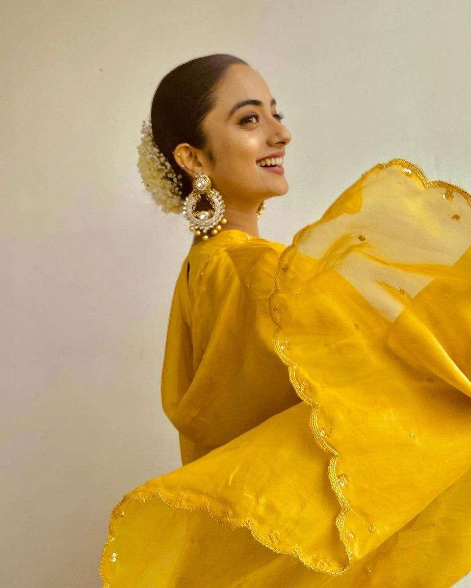 Namitha Pramod in a yellow kurta set by label m-4