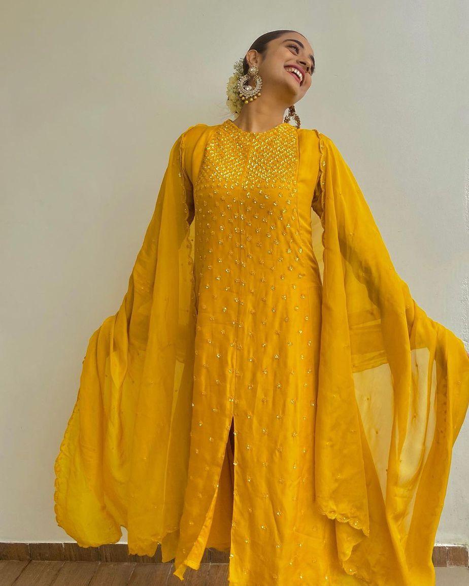 Namitha Pramod in a yellow kurta set by label m