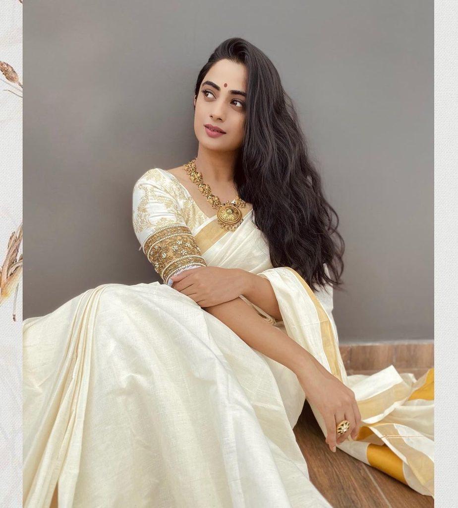 Namitha Pramod in kasavu saree by T and M signature for onam 2021