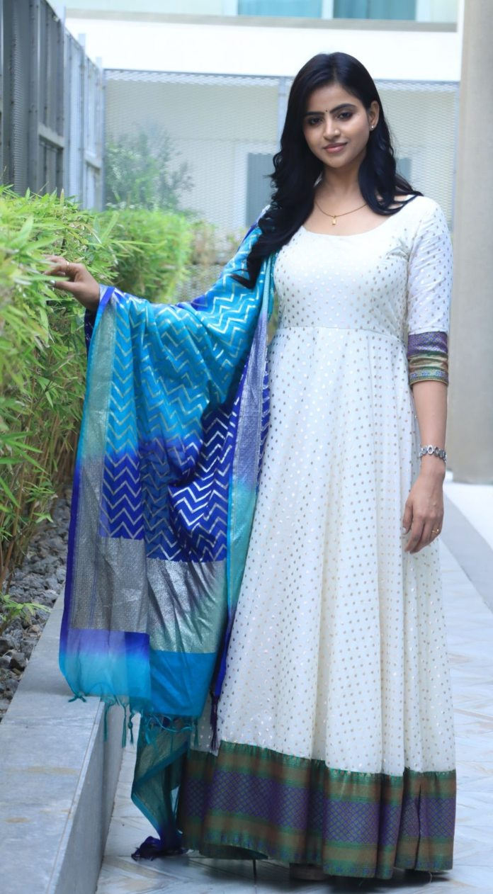 Naveena Reddy in white anarkali by Kadhambari for dear megha promotions-4