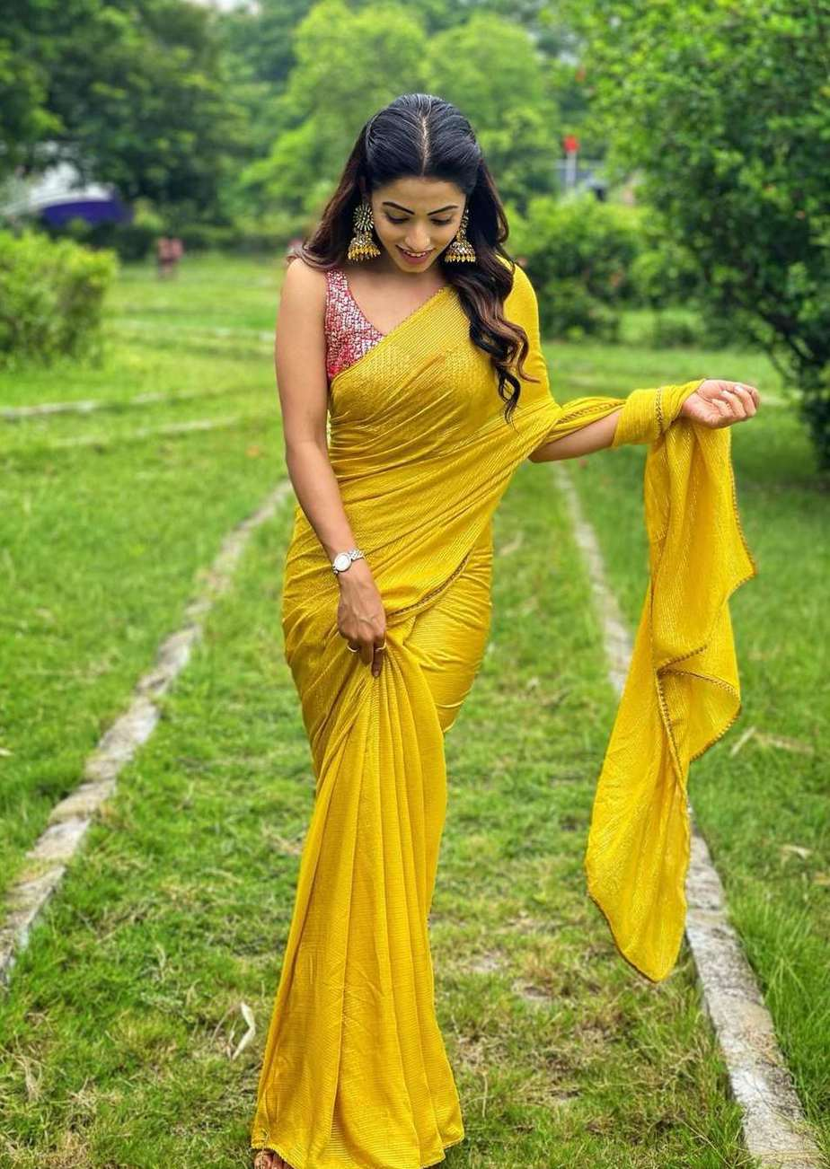 Navya Swamy in a yellow saree by thread fabric-2