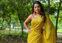 Navya Swamy in a yellow saree by thread fabric
