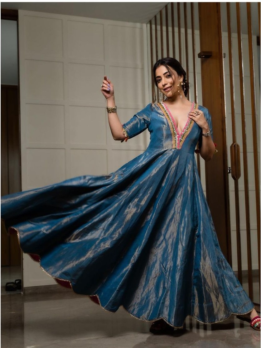 Nisha Aggarwal in a moonlight blue anarkali set by raji ramniq-2