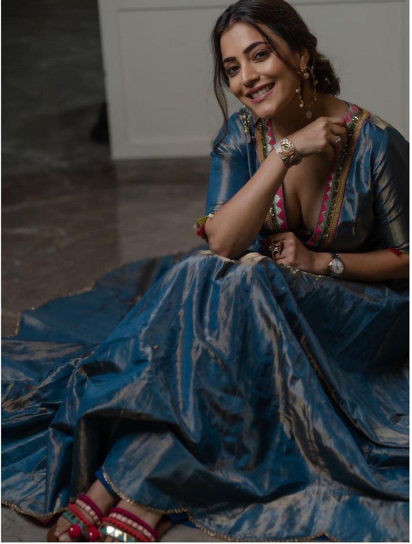 Nisha Aggarwal in a moonlight blue anarkali set by raji ramniq
