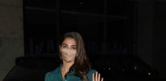 Pooja Hegde in a teal green co-ord set at the airport