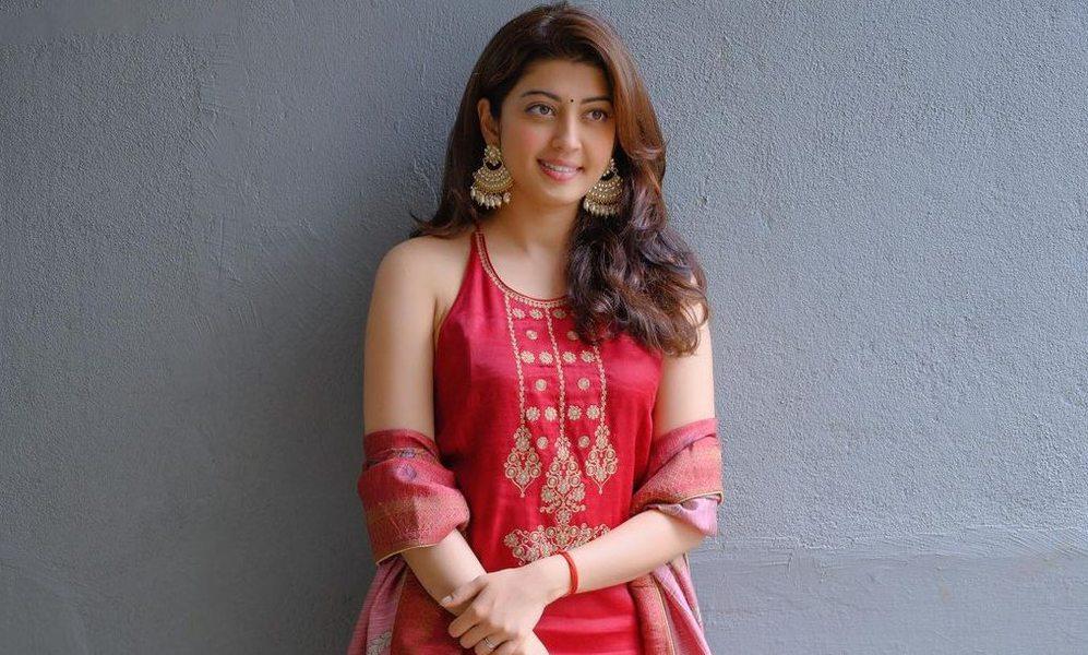 Pranitha subash in a red kurta set by label varsha for janmashtami-2