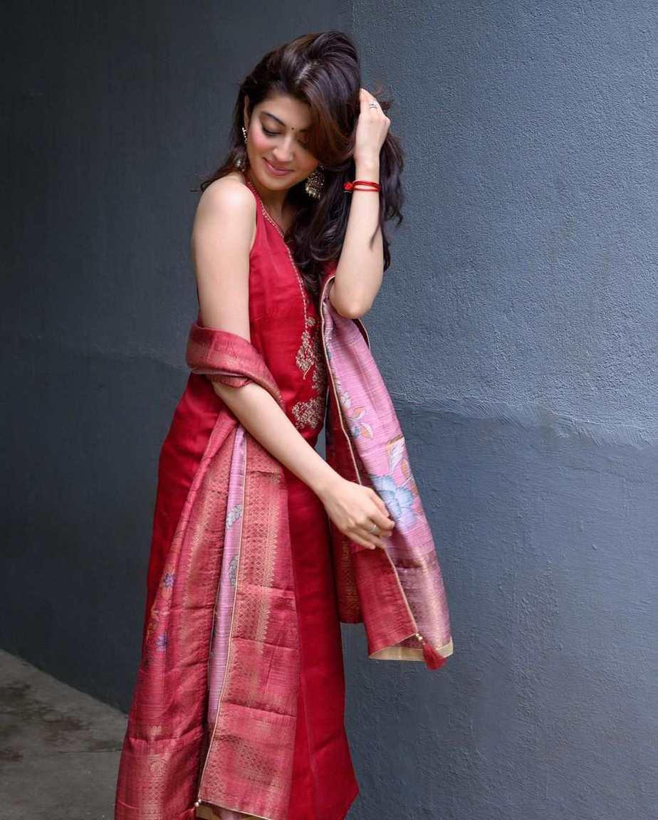 Pranitha subash in a red kurta set by label varsha for janmashtami