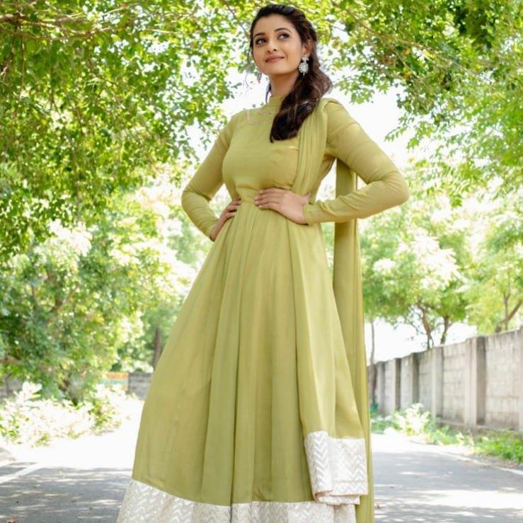 Priya Bhavani shankar in lime green anarkali by merasal-1