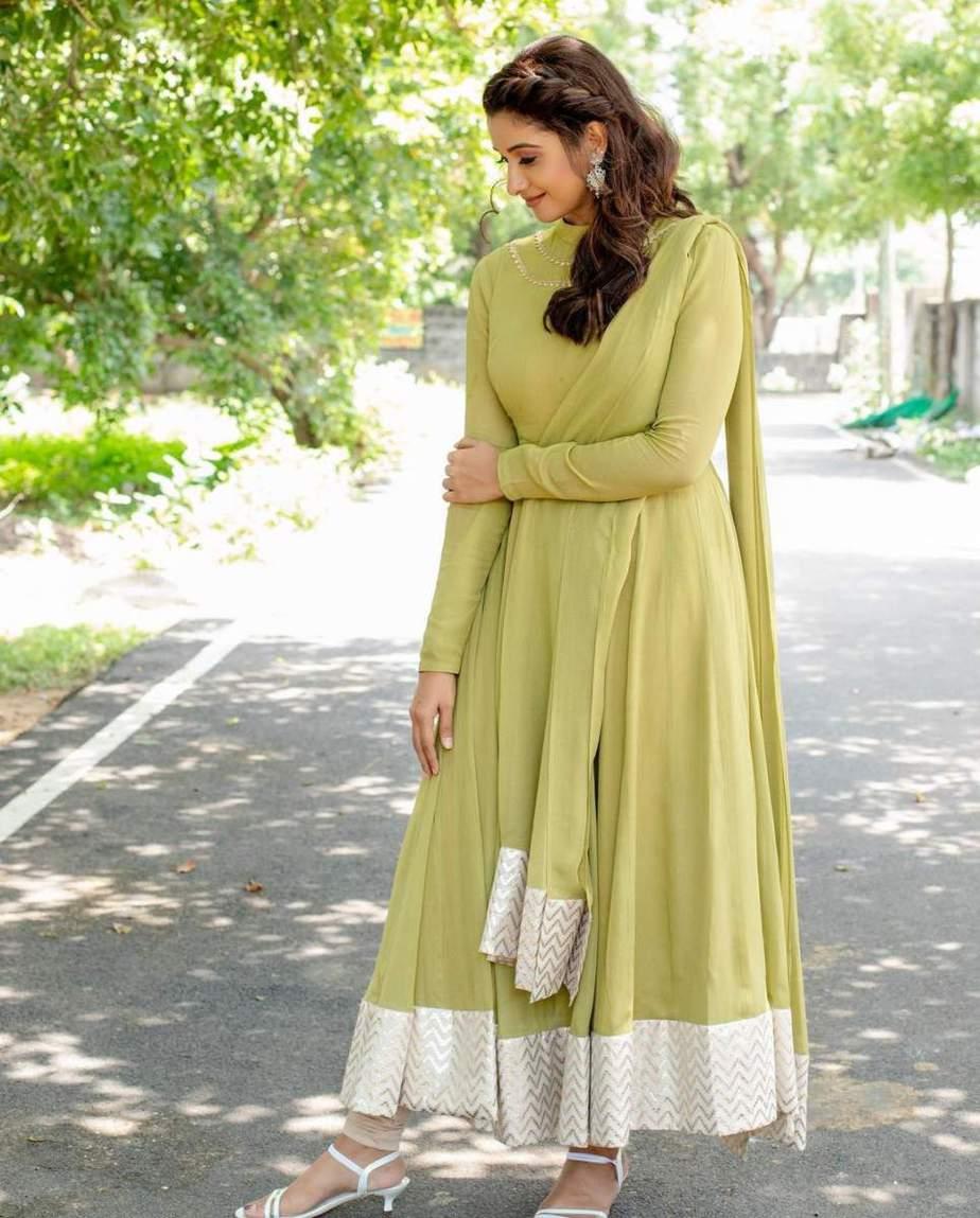 Priya Bhavani shankar in lime green anarkali by merasal-2