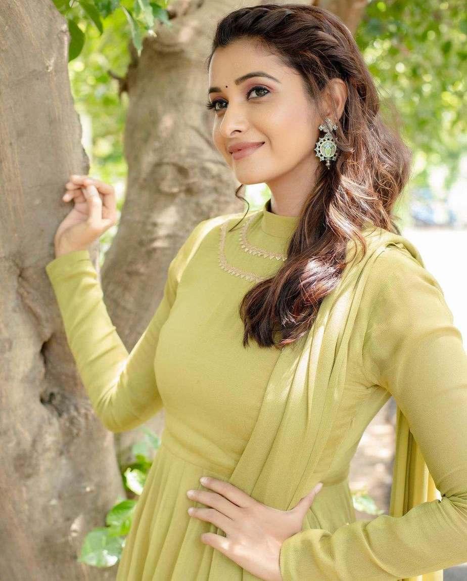 Priya Bhavani shankar in lime green anarkali by merasal-3
