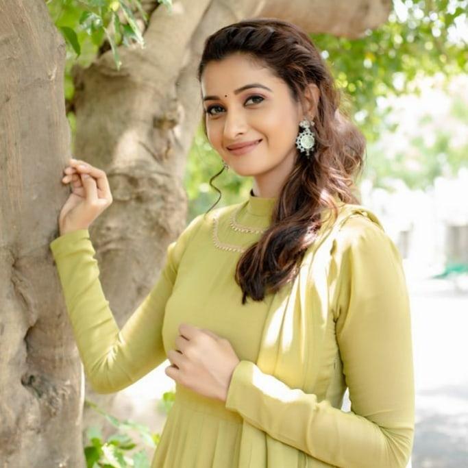 Priya Bhavani shankar in lime green anarkali by merasal